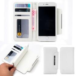 Apple  iPhone 7 Litchi Læder Pung  med aftagelig Bagcover Hvid