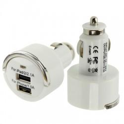 3.1A og 2 x USB Biloplader med Udtrækshåndtag til iPhone 5S/5C/5, iPhone 4 & 4S, iPhone 3GS/3G, iPod Touch, iPad/iPad 2 - HVID