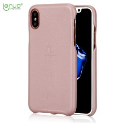 Apple iPhone X LENUO Plastik Læder Look Cover Lyserød