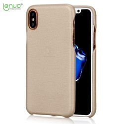 Apple iPhone X LENUO Plastik Læder Look Cover Guld