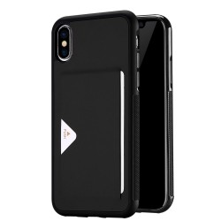 Apple iPhone X DUX DUCIS Pocard Læder TPU Bagside med kortspalte Cover Sort