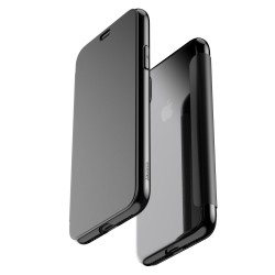 Apple iPhone X BASEUS Gennemsigtigt Touchable Plastic + TPU Hybrid Cover Sort