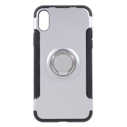 Apple iPhone X Hybird/ TPU Cover Med 360 Grader Telefon Holder Ring Sølv
