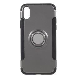 Apple iPhone X Hybird/ TPU Cover Med 360 Grader Telefon Holder Ring Grå