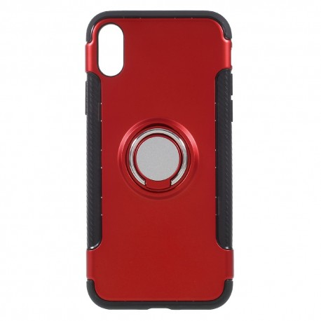 Apple iPhone X Hybird/ TPU Cover Med 360 Grader Telefon Holder Ring Rød