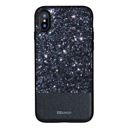 Apple iPhone X DZGOGO Luxury Læderbelagt/TPU Frame Hybrid Cover Sort