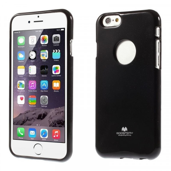 Jelly Shimmering Powder TPU Case til iPhone 6 (Sort)