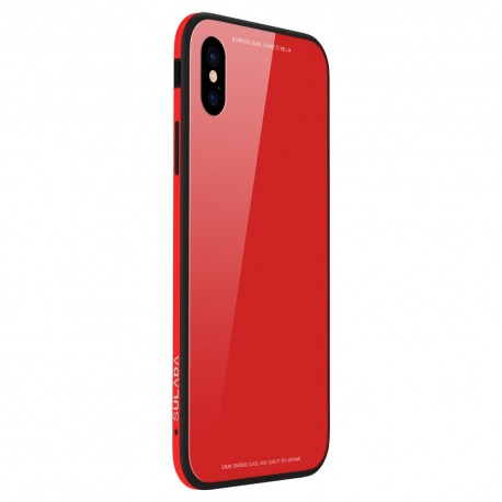 iPhone X SULADA Tempered Glass  Drop-proof Hybrid Cover Rød