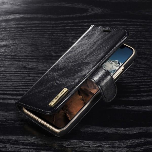 iPhone X DG.MING Aftagelig 2-i-1 ægte læder Cover Sort
