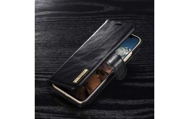 iPhone X DG.MING Etui med Magnetisk Cover i Ægte Læder Sort