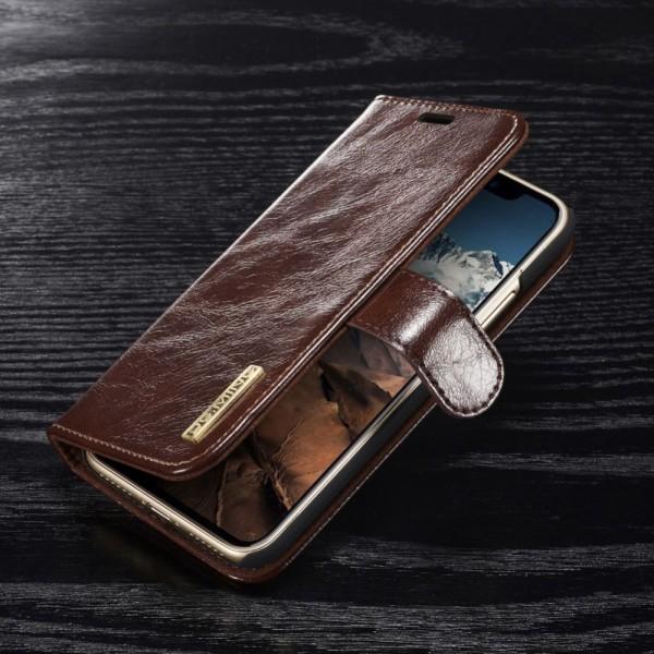iPhone X DG.MING Aftagelig 2-i-1 ægte læder Cover Kaffe
