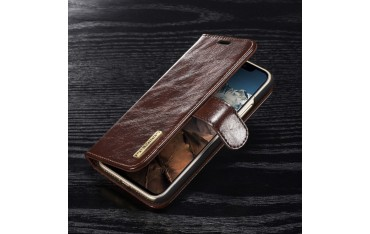 iPhone X / XS DG.MING Wallet 2-i-1 med Magnetisk Cover i Ægte Læder Brun