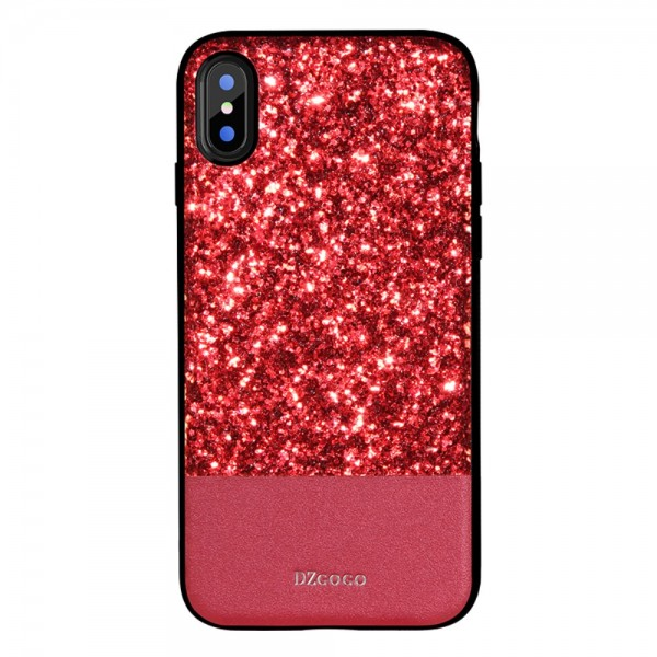 iPhone X DZGOGO Hybrid/TPU Skinnende PU Læder Cover Rød