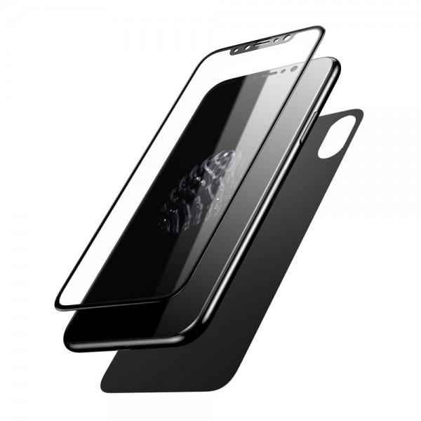 iPhone X BASEUS Beskyttelsesglas Sæt - Sort