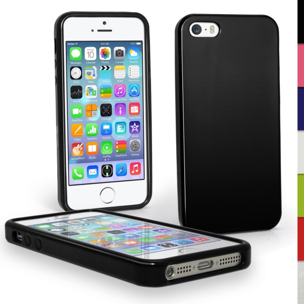 Plastik TPU Cover til iPhone 5/5S - SORT