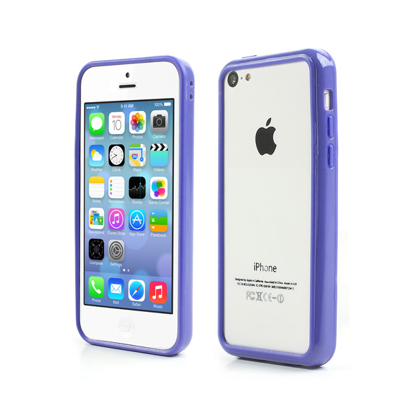 Plastik Bumper med knapper til iPhone 5 - BLÅ