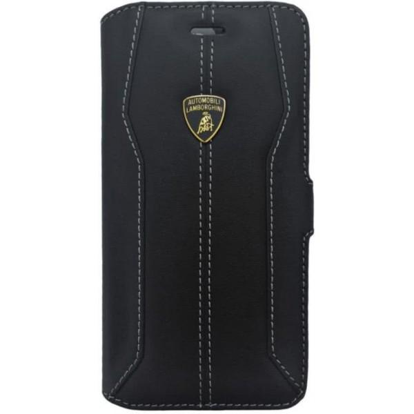 Lamborghini Huracan-D1 Genuine Læder Etui m Kortholder til iPhone 7 Plus / 8 Plus - Sort