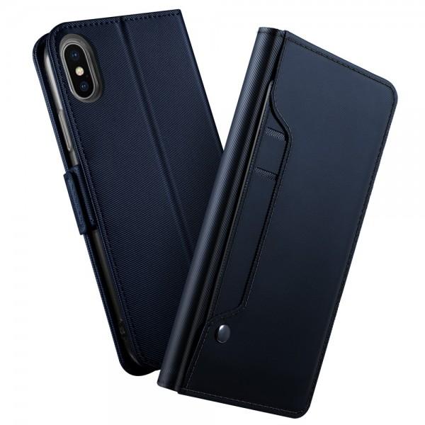 iPhone XS Læder Etui med Kortholder - Mørk blå