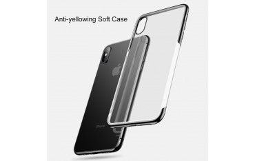 iPhone XS / X BASEUS Shining Series Plated Klar TPU Cover - Sort