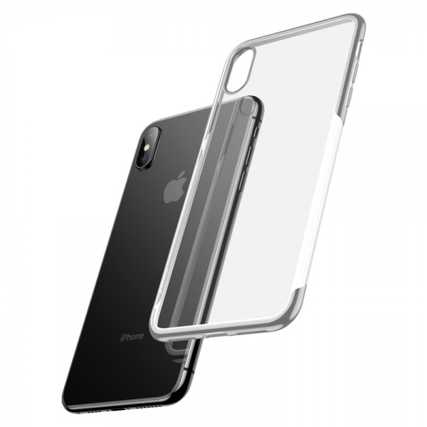 iPhone XS BASEUS Shining Series Plated TPU Cover - Sølv
