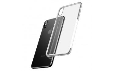 iPhone XS / X BASEUS Shining Series Plated Klar TPU Cover - Sølv