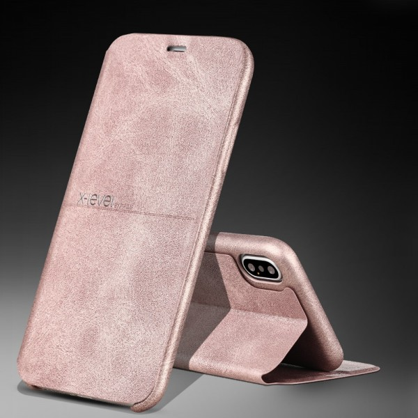 iPhone XS Max X-LEVEL Extreme Series Læder Cover - Guld