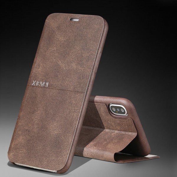 iPhone XS Max X-LEVEL Extreme Series Læder Cover - Brun