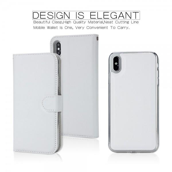iPhone XS MAX Magnetisk Læder Cover Etui - Hvid
