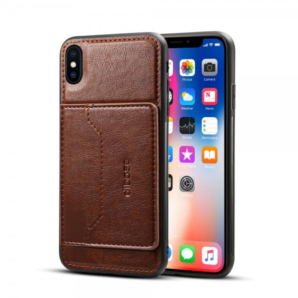 iPhone XS MAX Crazy Horse Leather Cover - Brun