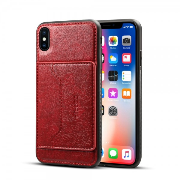 iPhone XS MAX Crazy Horse Leather Cover - Rød