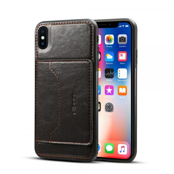 iPhone XS MAX Crazy Horse Leather Cover - Sort