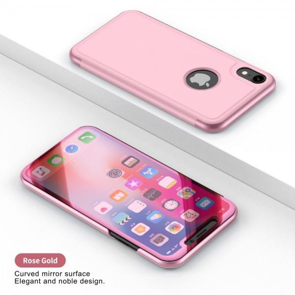 iPhone XR Læder Cover med Glas Surface - Guld