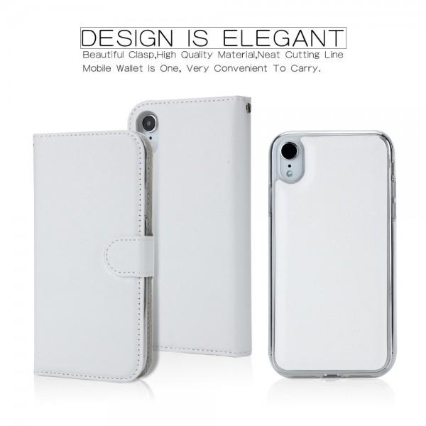 iPhone XR Magnetisk Læder Cover Etui - Hvid