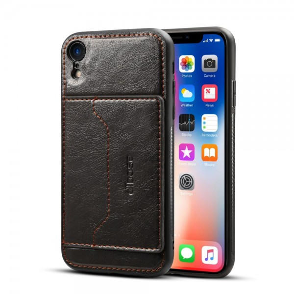 iPhone XR Crazy Horse Læder Cover - Sort