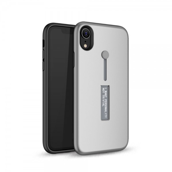 iPhone XR TPU Cover med Kickstand - Sølv