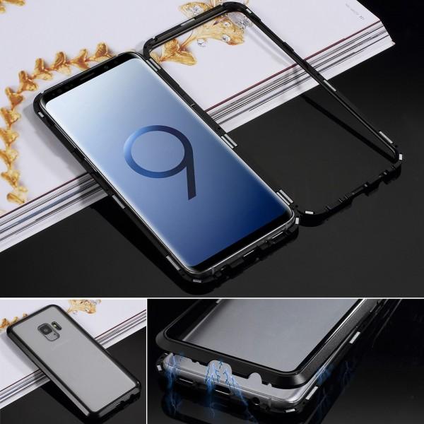 Samsung Galaxy S9 Glas Cover med Magnetisk Ramme - Sort