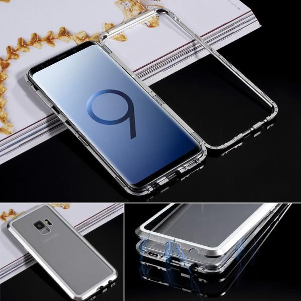 Samsung Galaxy S9 Glas Cover med Magnetisk Ramme - Sølv