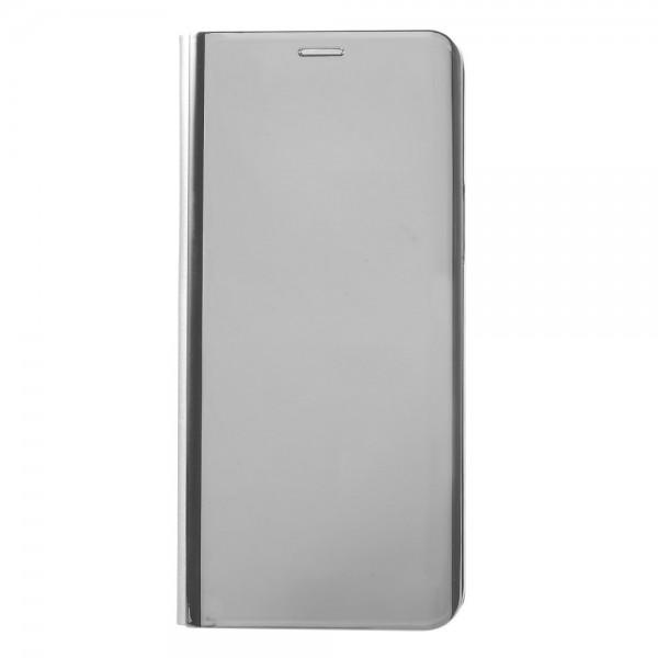 Samsung Galaxy S9 Læder Cover Etui med Glas Surface - Sølv