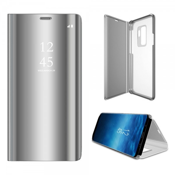 Samsung Galaxy S9+ Læder Cover med Glas Surface - Sølv