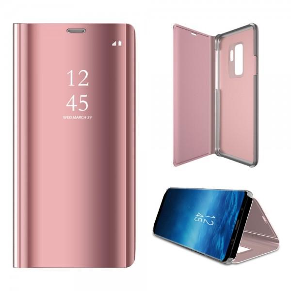 Samsung Galaxy S9+ Læder Cover med Glas Surface - Lyserød