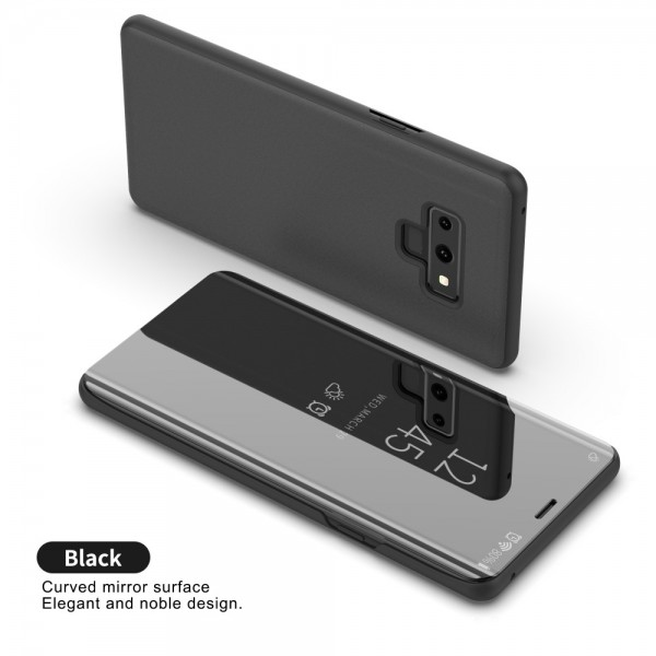 Samsung Galaxy Note 9 Læder Cover med Glas Surface - Sort