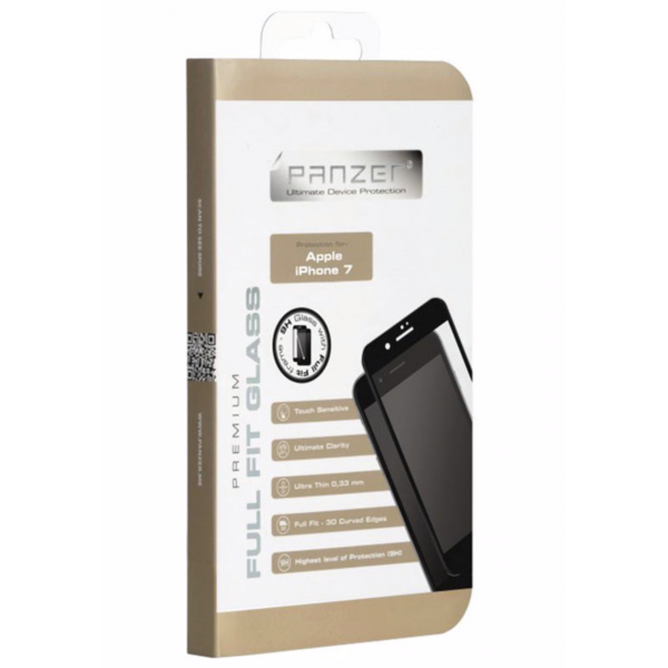 iPhone 7 / iPhone 8 PANZER Full-Fit Beskyttelsesglas - Sort