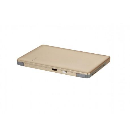 SilverCrest 3000mAh Ultra Slim Powerbank med Micro USB + Lightning Kabel - Guld