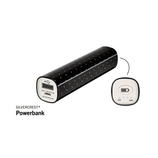 SilverCrest 3000mAh Smart Powerbank - Sort