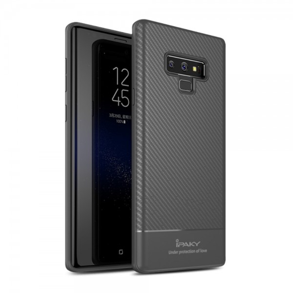 Samsung Galaxy Note 9 IPAKY Carbon Fiber TPU Protection Cover Grå