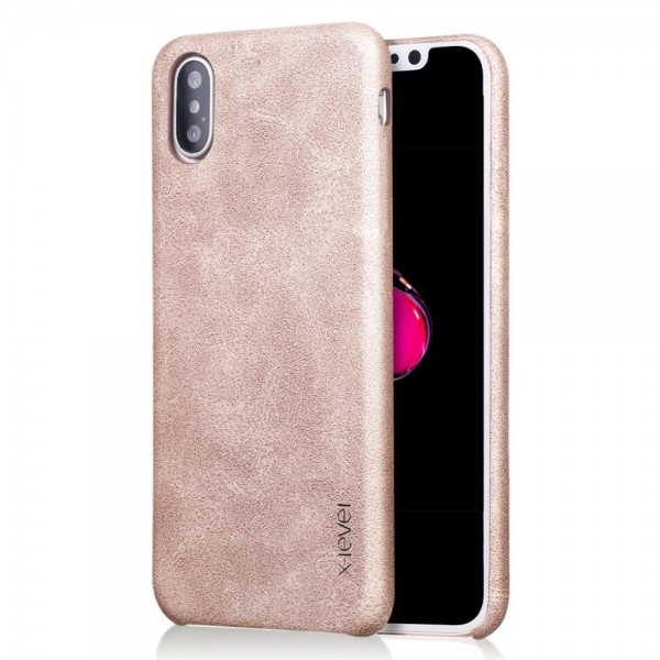 iPhone XS Max X-LEVEL Vintage Læder Cover Guld