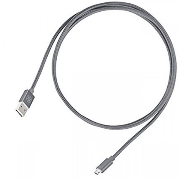 SILVERCREST Micro USB Datakabel 1 M - NYLON BRAIDED - Grå