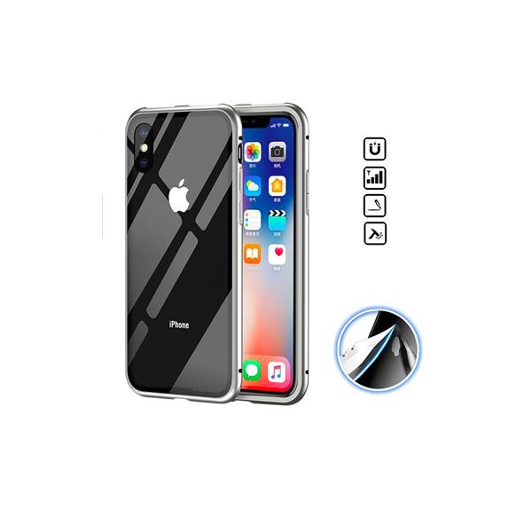 iPhone X / XS Magnetisk Cover med Beskyttelsesglas til Bagsiden - Sølv