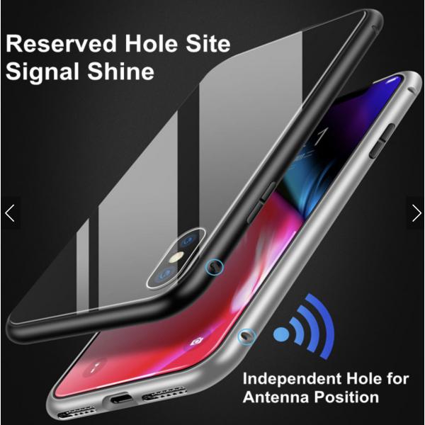iPhone X / XS Double-Sided Magnetisk Aluramme Cover med Beskyttelsesglas Sølv