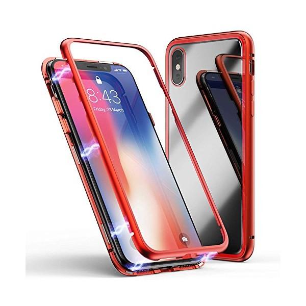 iPhone X / XS Double-Sided Magnetisk Aluramme Cover med Beskyttelsesglas Rød